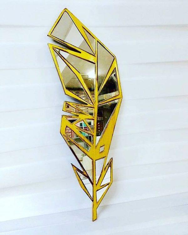 Dekoratif Yaprak Ayna Gold 2069 Cm