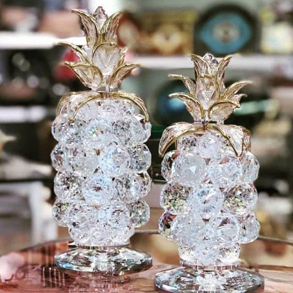 Kristal Ananas Dekortif Obje