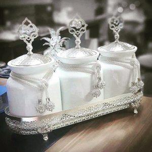 Standlı 3'lü Porselen Kavanoz Seti Gümüş