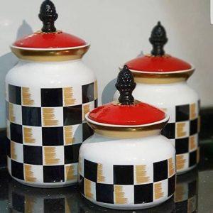 Porselen Damalı Kavanoz Seti