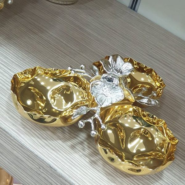 Dekoratif Pirinç Çerezlik Gold