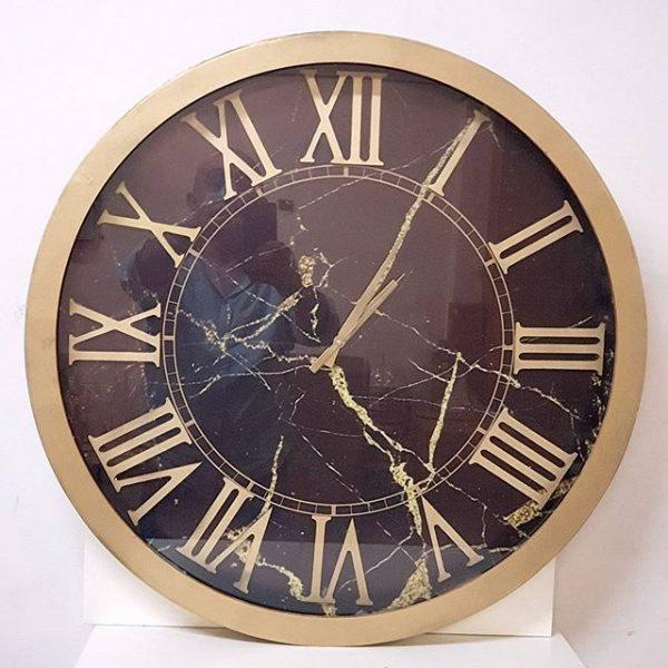 Camlı Ahşap Saat 60 cm