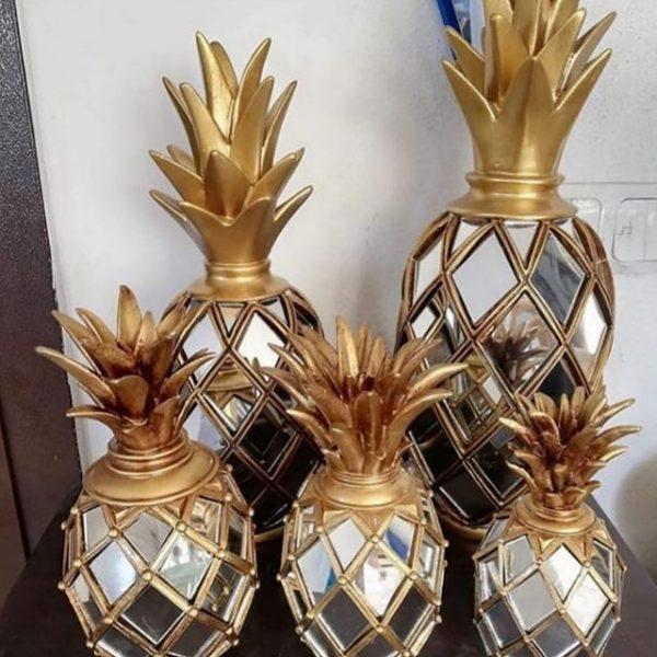 Dekoratif Aynalı Aynasız Ananas Obje