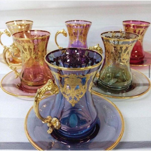 Monalisa Kulplu 6'lı Çay Bardağı 24 Ayar Altın