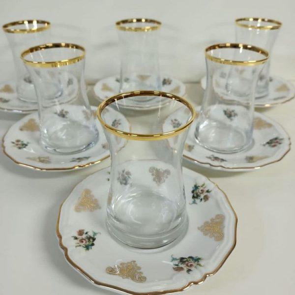 Porselen Tabaklı Çay Bardak Seti 6'lı