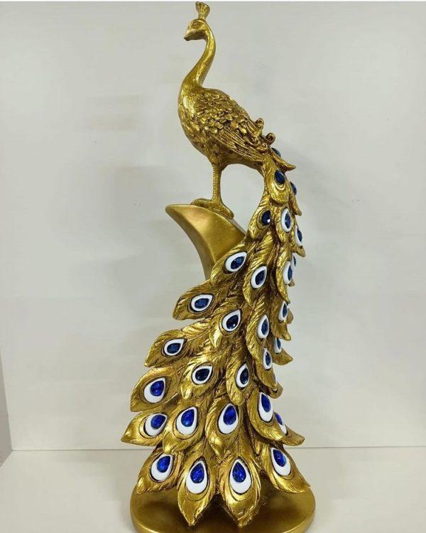 Tavus Kuşu Polyester 45 cm - Mavi Camlı