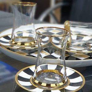 6'lı Çay Bardağı Takımı El Boyama Damalı