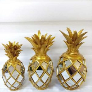 Ananas Dekoratif Obje Aynalı 3lü Sarı
