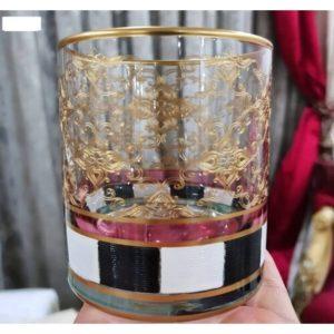 Meşrubat Bardağı 6'lı Dama El Boyama Siyah